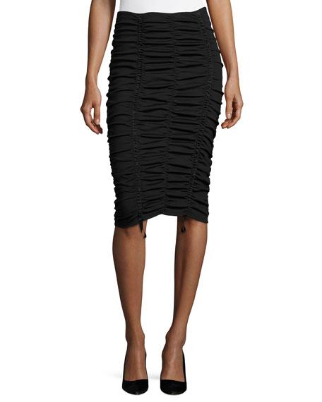Aldona Ruched Midi Skirt, Black