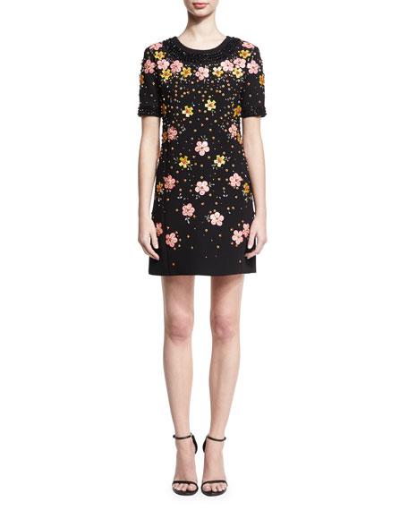Floral-Embroidered Short-Sleeve Shift Dress, Black