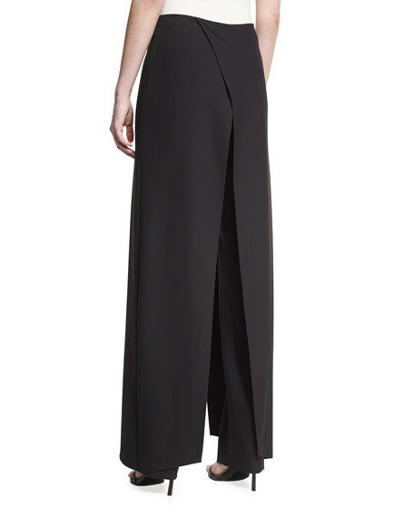 Wrap-Front Wide-Leg Pants, Black