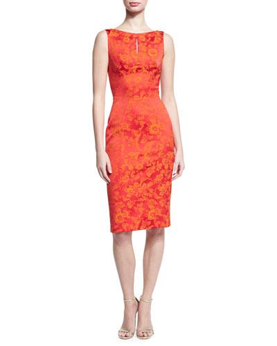 Floral Jacquard Keyhole Sheath Dress, Coral/Orange