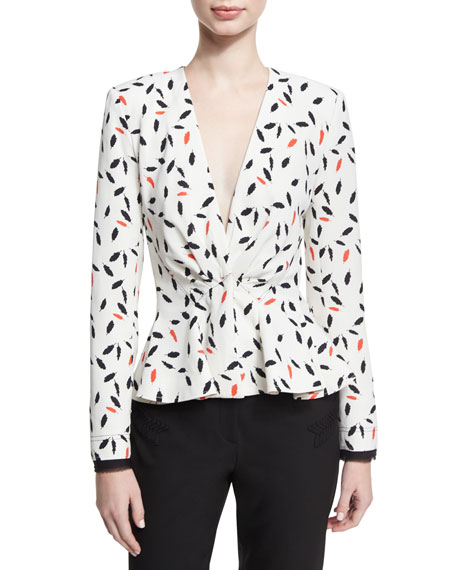 Feather-Print Peplum Top, Ivory/Coral/Black