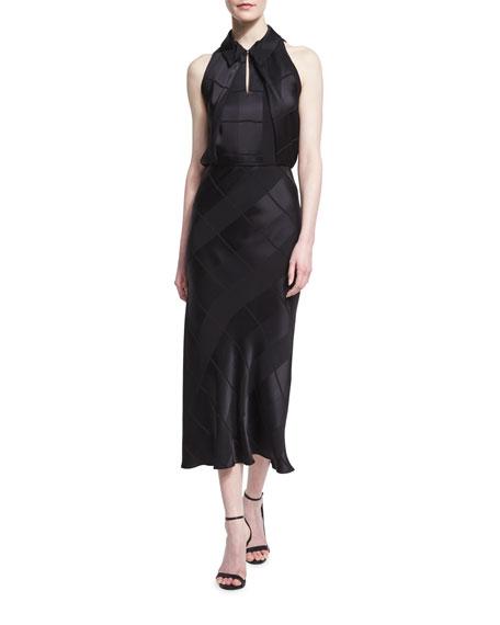 Sleeveless Crepe Jacquard Midi Dress, Black
