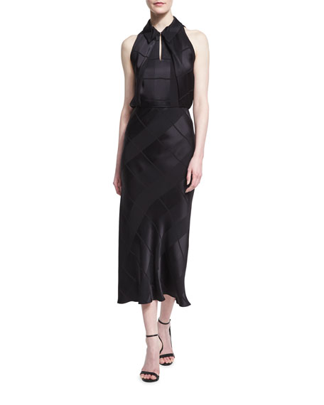 Zac Posen Sleeveless Crepe Jacquard Midi Dress, Black