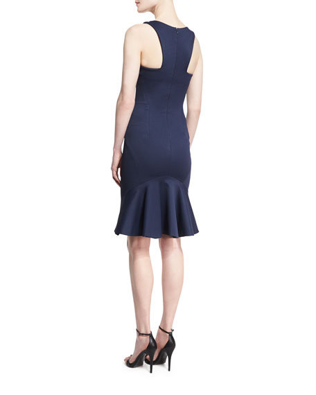 Sleeveless Bandage Jersey Dress, Navy
