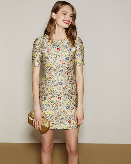 Floral Jacquard Short-Sleeve Cocktail Shift Dress, Gold Bouquet