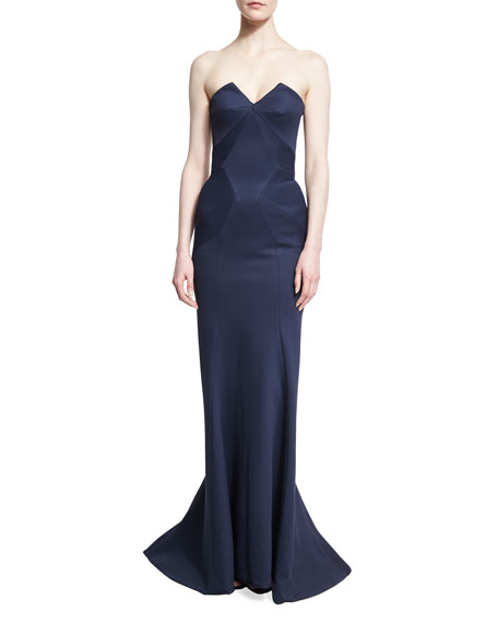 Bondage Jersey Strapless Mermaid Gown, Navy