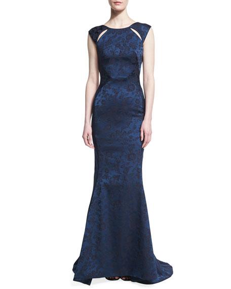 Zac Posen Floral Jacquard Cutout-Shoulder Gown