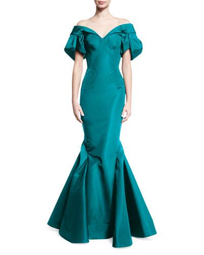 Off-the-Shoulder Trumpet Gown, Aquamarine