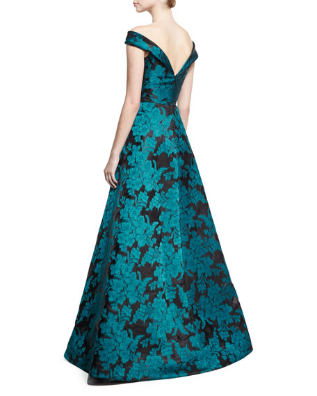 Off-the-Shoulder Floral Jacquard Gown, Teal