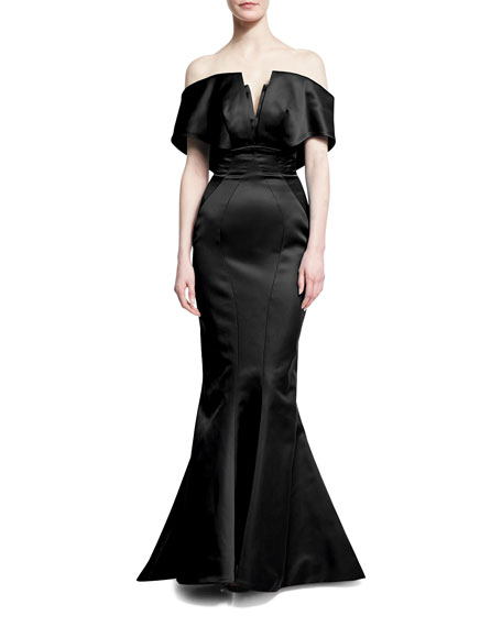 Zac Posen Off-the-Shoulder Trumpet Gown, Black