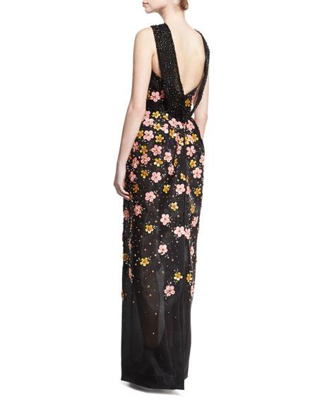 Floral-Embroidered Halter Gown, Black/Multicolor