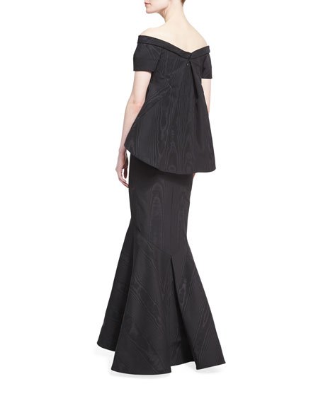 Moire Off-the-Shoulder Short-Sleeve Trumpet Gown, Black