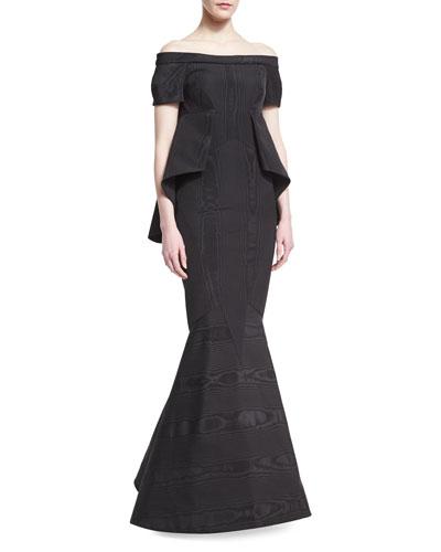 Moire Off-the-Shoulder Short-Sleeve Trumpet Gown, Black