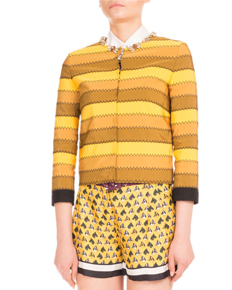 Mary Katrantzou Kryla Ribbon-Stripe Jeweled Jacket, Mustard