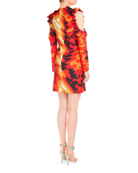 Psychedelic-Print Ruffled Cold-Shoulder Dress, Red Waves