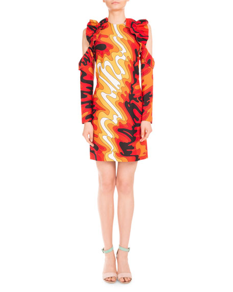Mary Katrantzou Psychedelic-Print Ruffled Cold-Shoulder Dress,
