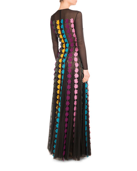 Daisy-Appliqué Long-Sleeve Gown, Black/Multi