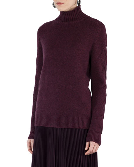 Akris punto Cable-Trim Knit Turtleneck Sweater and Matching