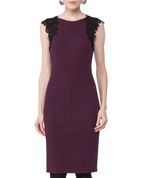 Lace-Trim Cap-Sleeve Dress