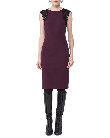 Akris punto Lace-Trim Cap-Sleeve Dress
