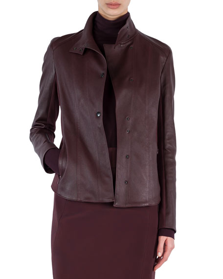 Napa Leather Snap-Front Jacket
