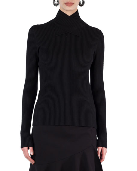 Akris punto Cross-Neck Ribbed-Knit Sweater
