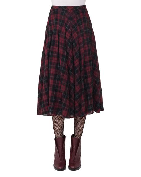 Glen Plaid Midi Skirt