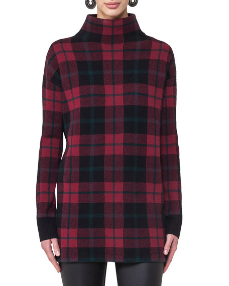 Glen Plaid Mock-Neck Top