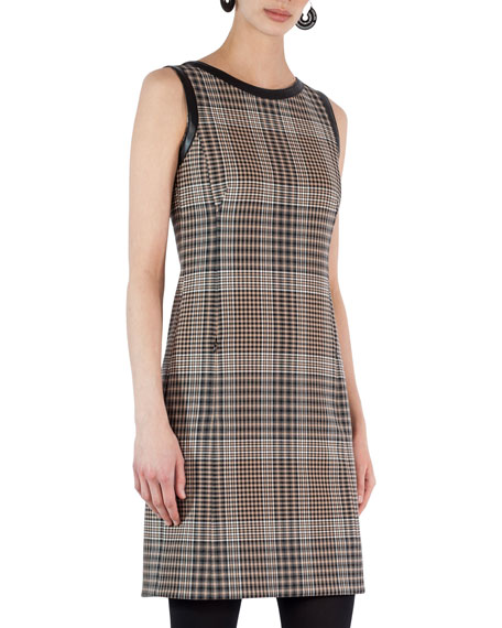 Sleeveless Leather-Trim Plaid Dress