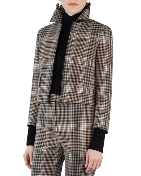 Akris punto Glen Plaid Zip-Front Jacket