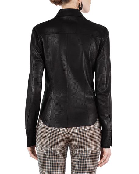 blouse perforated leather la
