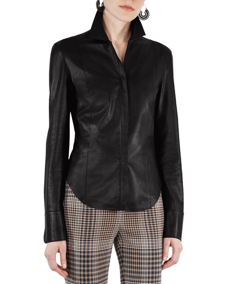 Perforated Leather Blouse