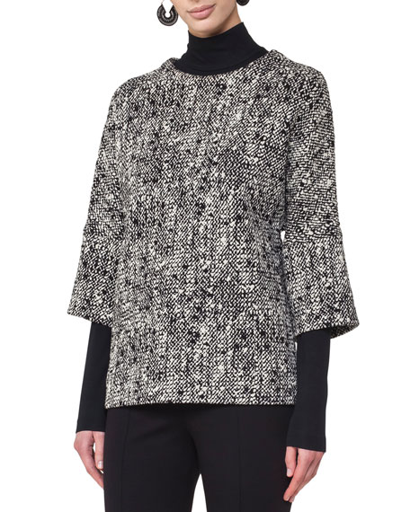 Akris punto Round-Neck Drop-Shoulder Sweater