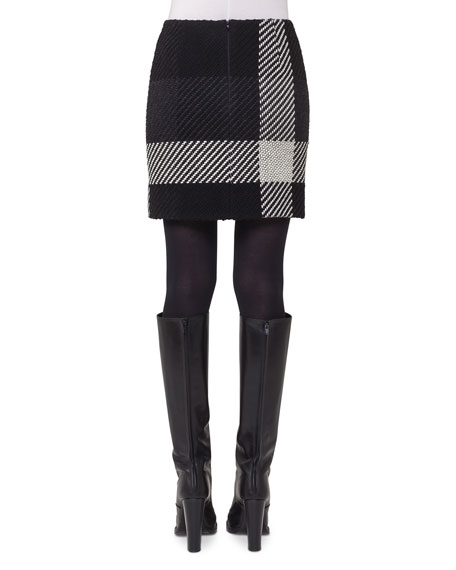 Oversized-Plaid Mini Skirt