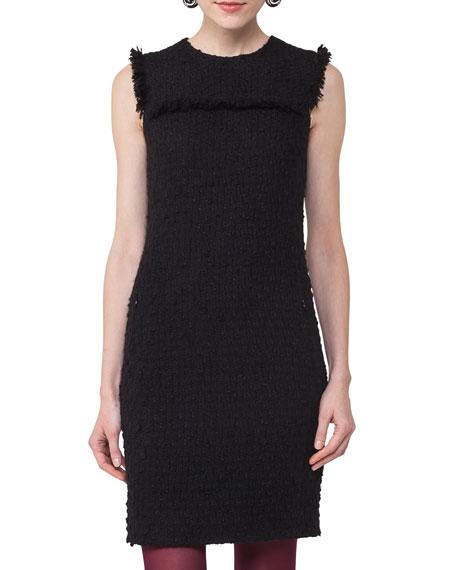 Sleeveless Fringed Boucle Dress