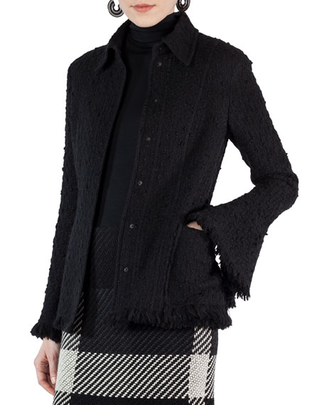 Akris punto Fringed Boucle Button-Front Jacket