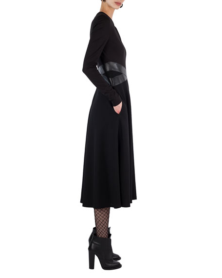 Long-Sleeve Keyhole Midi Dress
