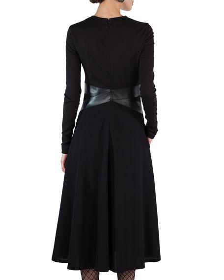 Long-Sleeve Keyhole Midi Dress