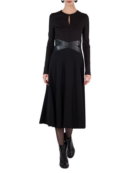 Akris punto Long-Sleeve Keyhole Midi Dress