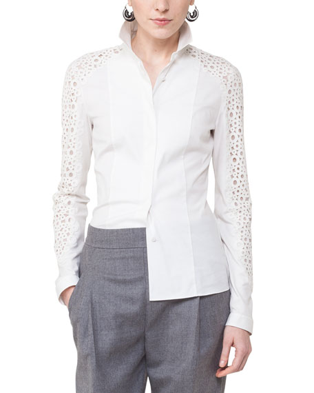 Akris punto Lace-Sleeve Poplin Blouse and Matching Items