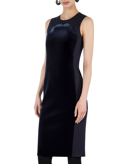 Akris punto Sleeveless Velvet Shift Dress