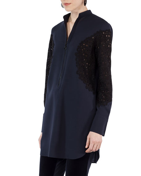 Akris punto Half-Zip Lace-Trim Tunic