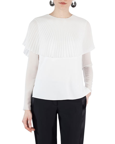 Akris punto Pleated Sunray Capelet Blouse and Matching