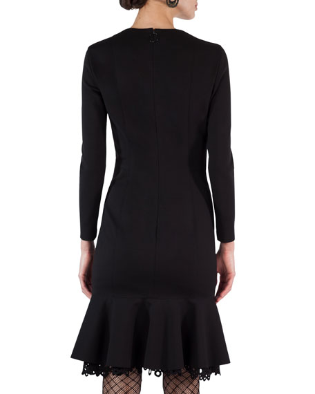 Drop-Waist Eyelet-Hem Jersey Dress