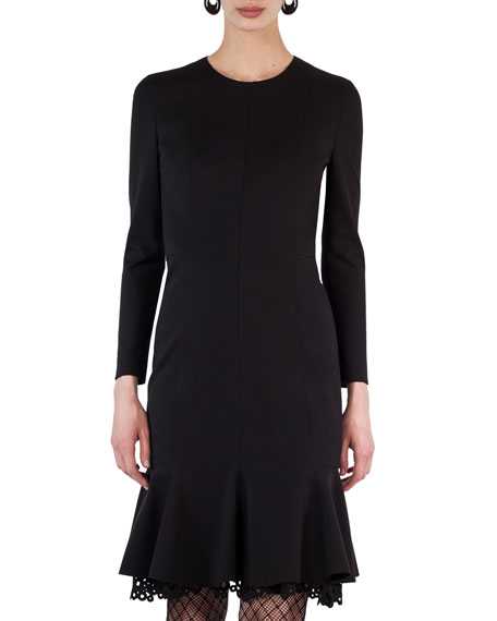 Akris punto Drop-Waist Eyelet-Hem Jersey Dress