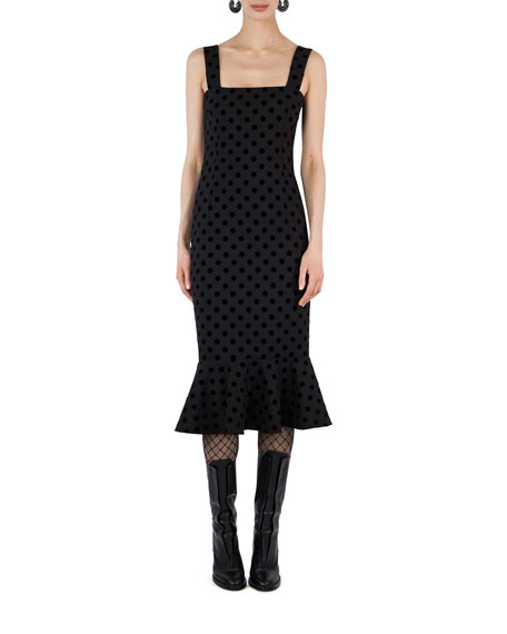 Akris punto Square-Neck Velvet Dot Midi Dress