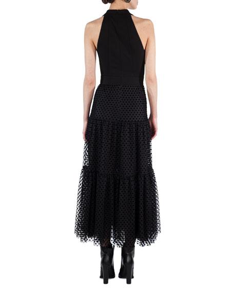 Velvet Dot Tulle Maxi Dress