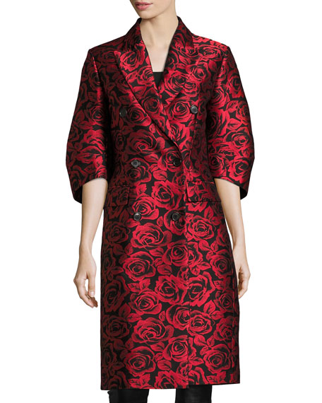 Michael Kors Collection Rose Jacquard Ruched-Sleeve