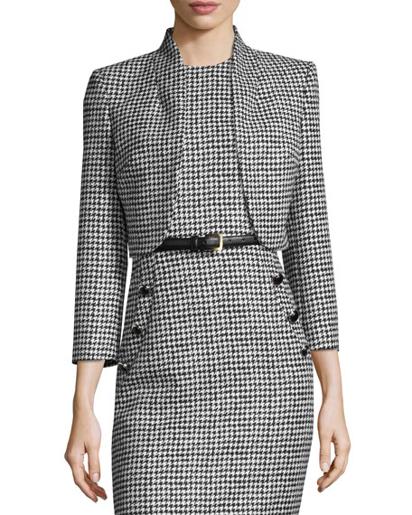 Michael Kors Collection Wool Jacquard Houndstooth Bolero Jacket,