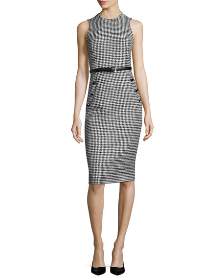 Michael Kors Collection Houndstooth Belted Sleeveless Sheath